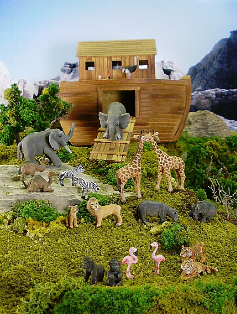Custom hand carved wood miniature 1:144 scale Noah's Ark diorama.