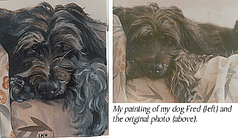 painting of dog with photo used to work from