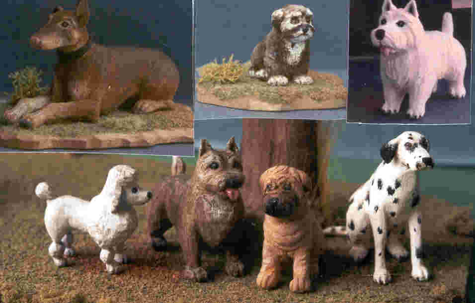 hand carved wooden miniature dogs
