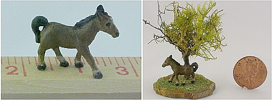 hand carved wood miniature horse
