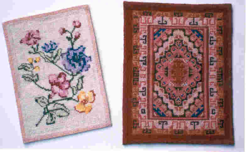 miniature counted cross stitched rugs