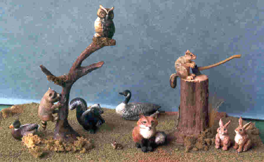 hand carved wooden miniature wildlife
